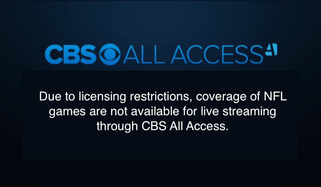 CBS All Access a Big Fail for NFL Online Streaming